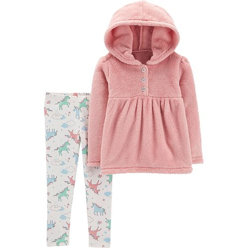 b8edd3df0 Toddler Girl Carter's Fuzzy Hoodie & Unicorn Leggings Set