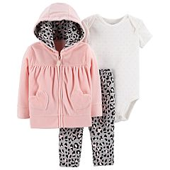 Baby Girl Carter's Velour Hoodie, Polka-Dot Bodysuit & Cheetah Leggings Set