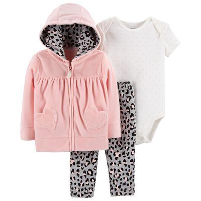 Baby Girl Carter's Velour Hoodie, Polka-Dot Bodysuit & Cheetah Leggings Set