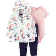 Baby Girl Carter's Floral Cardigan, Polka-Dot Bodysuit & Leggings Set