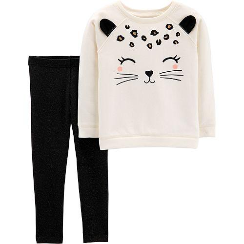 8f77e52b9524 Toddler Girl Carter s Cat Sweatshirt   Leggings Set