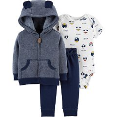 Baby Boy Carter's Animal Bodysuit, Striped Fleece Hoodie & French Terry Pants Set