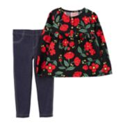 Toddler Girl Carter's Floral Poplin Henley Top & Jeggings Set