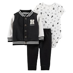Baby Boy Carter's Letterman Fleece Jacket, Printed Bodysuit & Pants Set