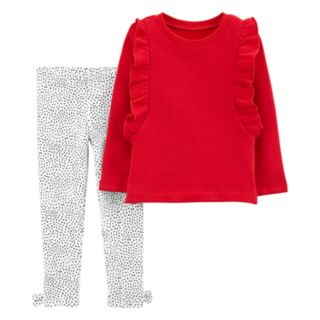 Toddler Girl Carter's Ruffled Sweatshirt & Dot Leggings Set