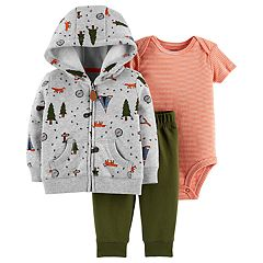 Baby Boy Carter's Camp Hoodie, Striped Bodysuit & Pants Set
