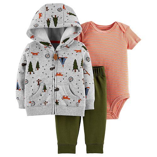 Baby Boy Carter's Camp Hoodie, Striped Bodysuit & Pants Set