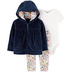 Baby Girl Carter's Velour Hoodie, Polka-Dot Bodysuit & Floral Leggings Set