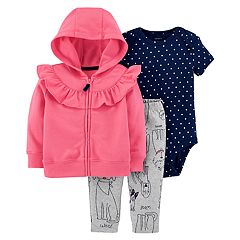 Baby Girl Carter's Ruffled Hoodie, Polka-Dot Bodysuit & Dog Leggings Set