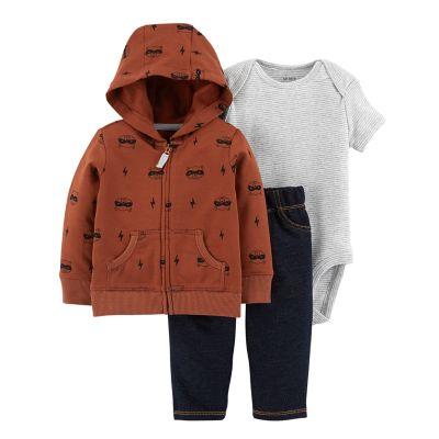 Baby Boy Carter's Striped Bodysuit, Raccoon Hoodie & Jeggings Set