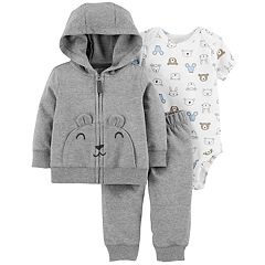 Baby Boy Carter's Animal Bodysuit, Bear Hoodie & French Terry Pants Set