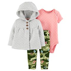 Baby Girl Carter's Quilted Jacket, Polka-Dot Bodysuit & Camouflage Leggings Set