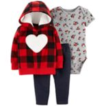 Baby Girl Carter's Plaid Fleece Hoodie, Rose Bodysuit & Jeggings Set