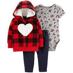 Baby Girl Carter's Plaid Fleece Hoodie, Rose Bodysuit & Jeggings Set