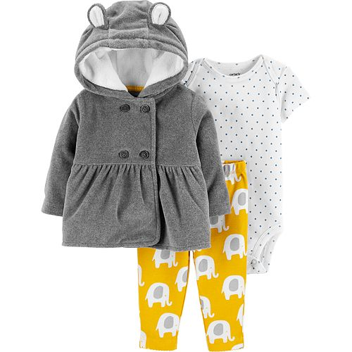 0da18b3f0 Baby Girl Carter's Fleece Peplum Hoodie, Bodysuit & Elephant Pants Set