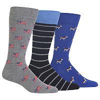 Men's Chaps 3-pack Novelty Crew Socks