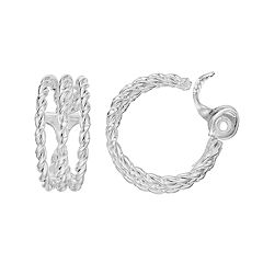 Napier Rope Clip-On Nickel Free Hoop Earrings