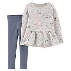 Baby Girl Carter's Dinosaur Peplum-Hem Top & Leggings Set