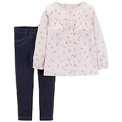 Baby Girl Carter's Space Print Top & Chambray Leggings Set