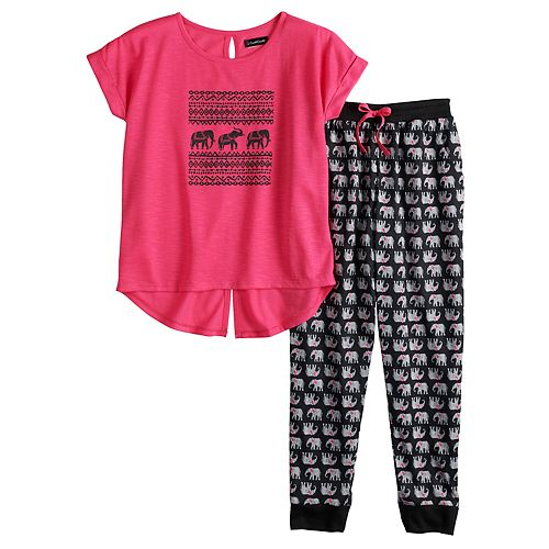 Girls 6-16 Cuddl Duds Splitback Top & Patterned Bottoms Pajama Set