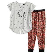 Girls 6-16 Cuddl Duds Splitback Top & Patterned Bottoms Pajama Set