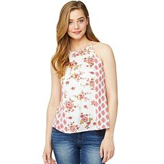 Juniors' Wallflower Printed Halter Tank