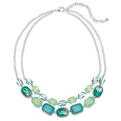 Napier Teal Double Strand Collar Necklace