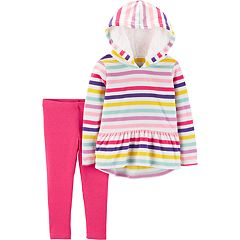 Baby Girl Carter's Striped Fleece Hoodie & Leggings Set