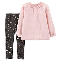 Baby Girl Carter's Cinched Lurex Top & Bow Leggings Set