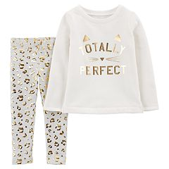 Baby Girl Carter's 'Totally Perfect' Fleece Sweatshirt & Cheetah Foil Leggings Set