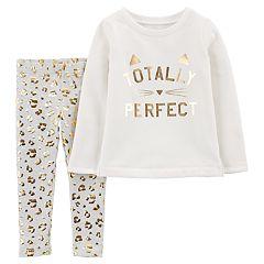 Baby Girl Carter's 'Totally Perfect' Fleece Sweatshirt & Cheetah Foil Leggings Set