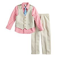 Boys 5-8 Van Heusen Basket-Weave 4-Piece Vest Set