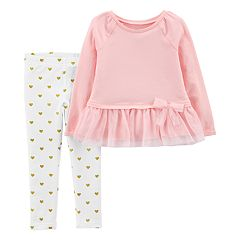 Baby Girl Carter's Tulle-Hem Top & Heart Leggings Set