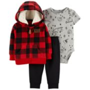 Baby Boy Carter's Plaid Fleece Hoodie, Snow Bodysuit & Pants Set