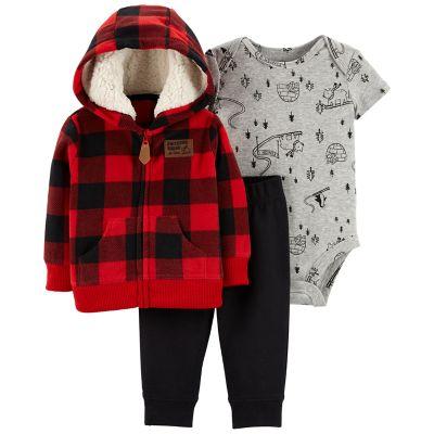 Baby Boy Carters Plaid Fleece Hoodie Snow Bodysuit  Pants Set