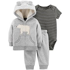 Baby Boy Carter's Fleece Bear Hoodie, Striped Bodysuit & Jogger Pants Set