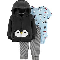 Baby Boy Carter's Fleece Hoodie, Penguin Bodysuit & Striped Pants Set