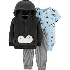 Baby Boy Carter's Fleece Hoodie, Penguin Bodysuit & Striped Pants Set