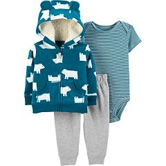 Baby Boy Carter's Fleece Hoodie, Striped Bodysuit & Jogger Pants Set