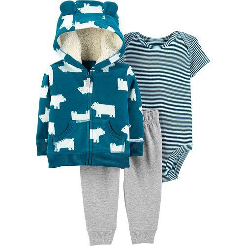 Baby Boy Carter's Fleece Hoodie, Striped Bodysuit & Jogger Pants Set