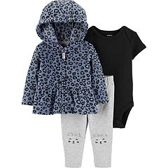 Baby Girl Carter's Fleece Cheetah Print Hoodie, Bodysuit & Pants Set