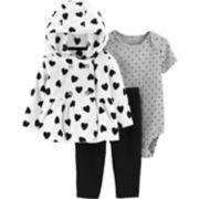 Baby Girl Carter's Fleece Peplum Hoodie, Polka-Dot Bodysuit & Pants Set
