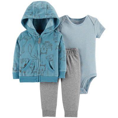 Baby Boy Carter's Fleece Dog Print Hoodie, Bodysuit & Pants Set