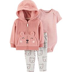 Baby Girl Carter's Bear Fleece Hoodie, Striped Bodysuit & Leggings Set