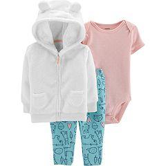 Baby Girl Carter's Velboa Hoodie, Bodysuit & Woodland Pants Set