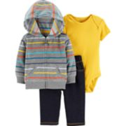 Baby Boy Carter's Striped Fleece Hoodie, Solid Bodysuit & Faux-Denim Pants Set