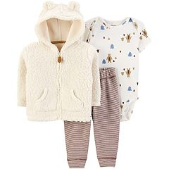 Baby Boy Carter's Sherpa Hoodie, Bear Bodysuit & Striped Pants Set
