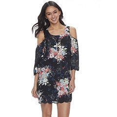 Juniors' Lily Rose Cold-Shoulder Shift Dress