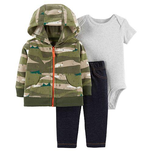 Baby Boy Carter's Camouflage Fleece Hoodie, Solid Bodysuit & Faux-Denim Pants Set