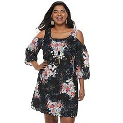 Juniors' Plus Size Lily Rose Cold-Shoulder Shift Dress